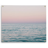 Pastel Sea - Wall Tapestry, Ocean Nautical Surf Style Wall Hanging, Pink & Blue Beach Landscape Interior Decor Accent. In Small Medium Large