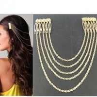 Imixlot® Chic Hair Cuff Pin Head Band Chains 2 Combs Tassels Fringes Hairband for Women Lady