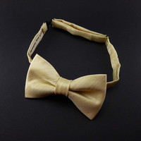 Champagne bow tie satin – mens or womens – pre tied adjustable ivory gold wedding bowtie - adult or teen size - formal bow tie