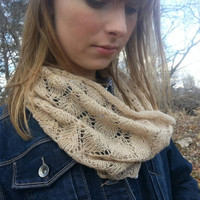 Lace cowl for spring summer 100% cashmere reclaimed hand knit luxury fashion scarf