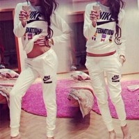 NIKE Casual Print Top Blouse Sweater Pants Trousers Set Two-Piece
