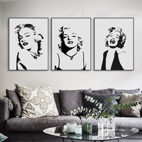 Original Watercolor Marilyn Monroe Pop Star Vintage Art Print Poster Wall Picture Living Room Canvas Painting No Frame Bar decor