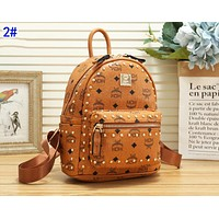 MCM Fashion Woman Leather Rivet Travel Bookbag Shoulder Bag Backpack 2#