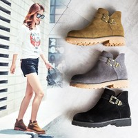 On Sale Hot Deal Leather Flat Casual Matte Boots [120850284569]