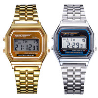 2015 hot Men Women Watch Vintage Stainless Steel LED Digital Sports  Wristwatches 1MAM 6T5P