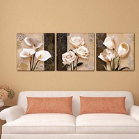 3 Piece Unframed Flower Canvas Painting  Flower Modular Paintings  On The Wall Decorative Wall Pictures For Corridor Home Decor