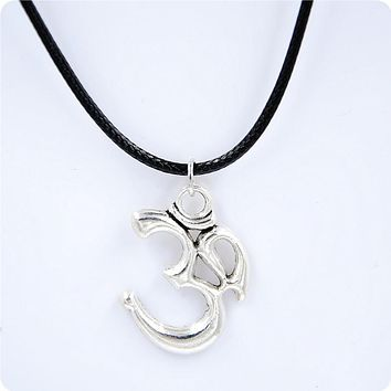 Silver Tibetan OM Symbol with Black Leather Necklace