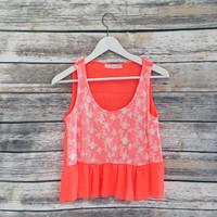 River Lace Baby Doll Tank (Neon Orange)