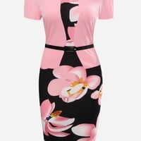 Casual Floral Printed Fake Two-Piece Plus Size Bodycon Dress