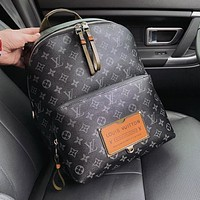 LV Louis Vuitton Woman Men Leather Travel Bookbag Shoulder Bag Backpack