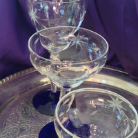 Louie Crystal Stemware Trio, Etched Star Flower, Water, Champagne, Cordial, Cobalt Blue Foot, Stunning Table Setting, Weston WV, 1930s 40s