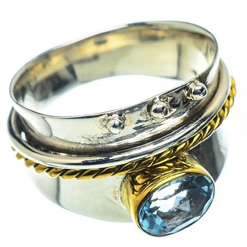 Blue Topaz Two Tone Sterling Silver Regal Band Ring