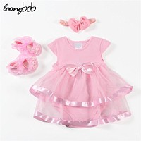 3 Pcs New Baby Girl Dress Infant Short Sleeve Summer Coverall for Birthday Wedding Pricess+Toddler Bow headband+Lace Cute Shoes