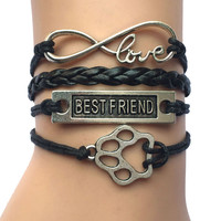 Assorted Colors Handmade Leather Wrap Infinity Love Best Friend Charm Paw Print Puppy Bracelet Gift for Pet Friend