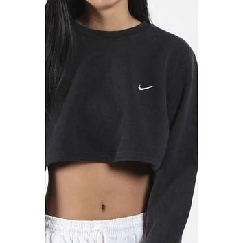 Nike Casual Long Sleeve Crop Top Shirt Sweater Pullover