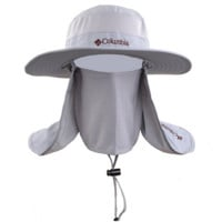Light Gray Fashionable Unisex Outdoor Summer Fishing Hat With Neck Face Curtain Cycling Breathable Visors