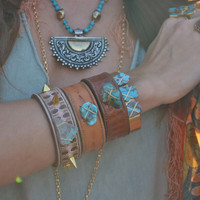 LUX Recycled 1 Inch Stamped Brown Leather Bracelet Bohemian Turquoise Gemstone Cuff