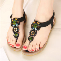 Summer new flat sandals national wind clip toe shoes