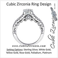 Cubic Zirconia Engagement Ring- The ________ Naming Rights 1650 (1.07 TCW Split Band with Vintage Scroll Accents)
