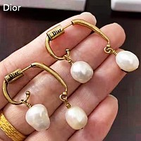 DIOR Fashion Pearl Irregular Long Earring Women Accessories