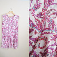 Pink Paisley - Vintage 90s Cotton Gauze India Silk Screen Print Drop Waist Dress