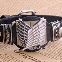 European and American Attack on Titan Punk Heavy Metal Style Black Leather Bracelet Strap Wristbands (black)