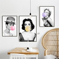 Marilyn Monroe Blows Bubbles Creative Canvas Painting Elizabeth Taylor Movie Poster Print Gift Art Wall Picture For Living Room