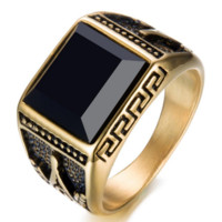 Gold Plated Square Agate Ring with Masonic Symbol