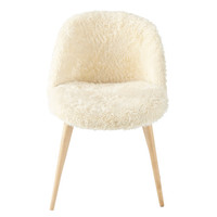 Faux fur and solid birch vintage chair in ivory Mauricette | Maisons du Monde
