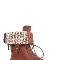 Mid-Height Combat Boot with Crochet Fold Over and Lace Up Front