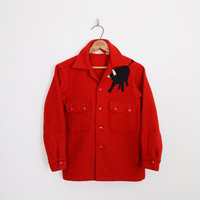 boy scouts of america official jacket, boy scout shirt, boy scout uniform, boy scout jacket, black bull, 60s 50s red wool jacket, 12 xs s
