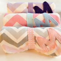 You pick 3, Baby girl Chevron Burp Cloth with Initial