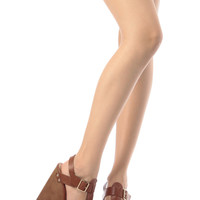 Tan Faux Leather Buckle Up Wedges