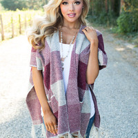 Walking in the Wind Checkered Poncho Burgundy
