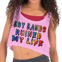 SYC Clothing — Boy Bands Ruined My Life Cropped Tank Top