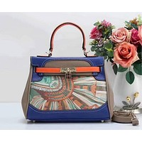 HERMES Women Shopping Leather Crossbody Satchel Shoulder Bag Blue Khaki I-LLBPFSH