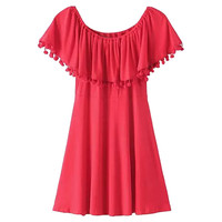 Off-Shoulder A-Line Pleated Mini Dress with Pom Decor