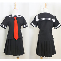 Sailor Collar Black Top and Black Pleated Skirt School Uniform Suit Set Free Ship SP140987 from SpreePicky