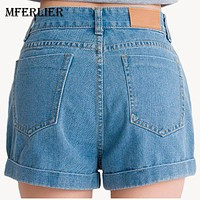 Summer High Waist Shorts Black Blue Color Sexy Shorts Size 25-34 Women Jeans Casual Loose Denim Shorts High Quality Shorts