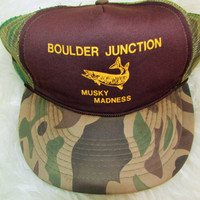 Vintage Camouflage 'Musky Madness' Fishing Snapback Hat