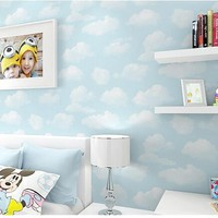 Blue sky and white clouds non-woven wallpaper, cartoon boy bedroom, blue green wallpaper, clouds, clouds lovely