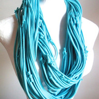 Chunky Sky Blue Cowl Scarf Upcycled Clothing Winter Accessories Blue Infinity Scarf Eco Friendly Light Blue Circle Loop Scarf