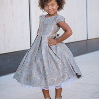 Champagne Chantilly Lace Pattern Girls Holiday Dress w. Pleated Skirt 2T-12
