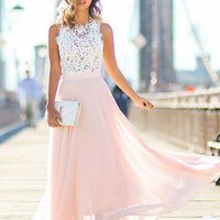 Hot Sale ! New Summer Women Sexy Lace Chiffon Maxi Dress Fashion Lady O-neck Sleeveless Long Party Dresses Vestidos