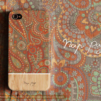Apple iphone case for iphone iphone 5 iphone 4 iphone 4s iPhone 3Gs :Abstract vintage Indian pattern on wood(not real wood)