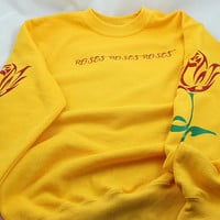 Roses Sweatshirt, Hipster Sweater, Flowers Yellow Pullover, Clothing Gift Tumblr Sweatshirt Vintage Mens Womens Sweater Crewneck Graphic
