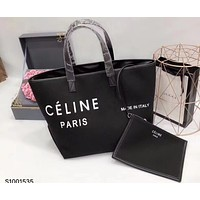 Celine 2018 new minimalistic casual style canvas holiday shopping bag canvas bag handbag F0425-1 black