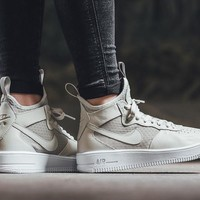PEAPON Nike Air Force 1 Ultraforce Mid 864025 Grey For Women Men Running Sport Casual Shoes Sneakers