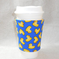 Adorable Blue and Yellow Slide On Coffee Cozy Made With Rubber Duck Inspired Fabric