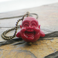 buddah pendant necklace in scarlet red extra long chain by Novella